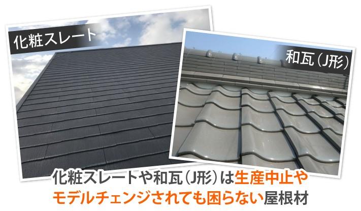 化粧スレートや和瓦(J形)は生産中止やモデルチェンジされても困らない屋根材