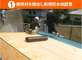 屋根材を撤去し新規防水紙設置