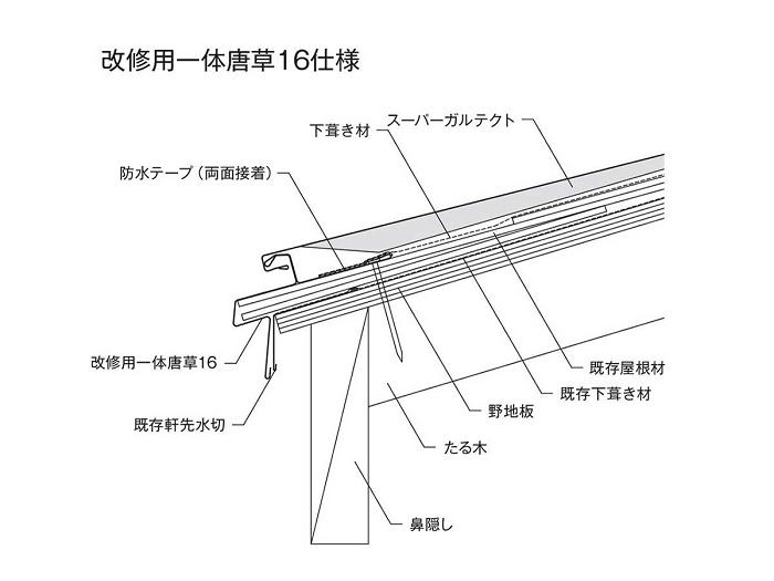 カバー工法で使用する改修用一体唐草