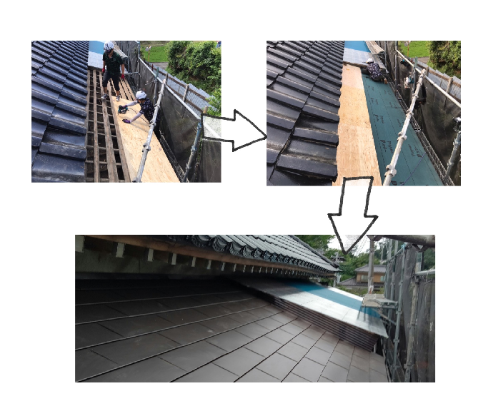 和ら屋根をガルバニウムに葺き替え