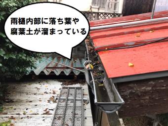 雨樋内部に落ち葉などによるつまりが見られる状態