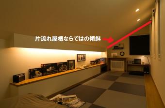 片流れ屋根 屋根裏部屋の空間利用