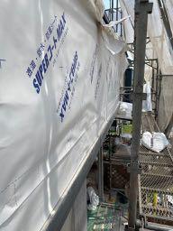 防水紙を新たに貼った壁