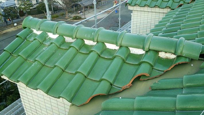 袖屋根の漆喰工事の施工後