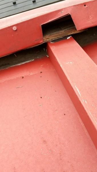 瓦棒屋根、棟板金浮きあがり