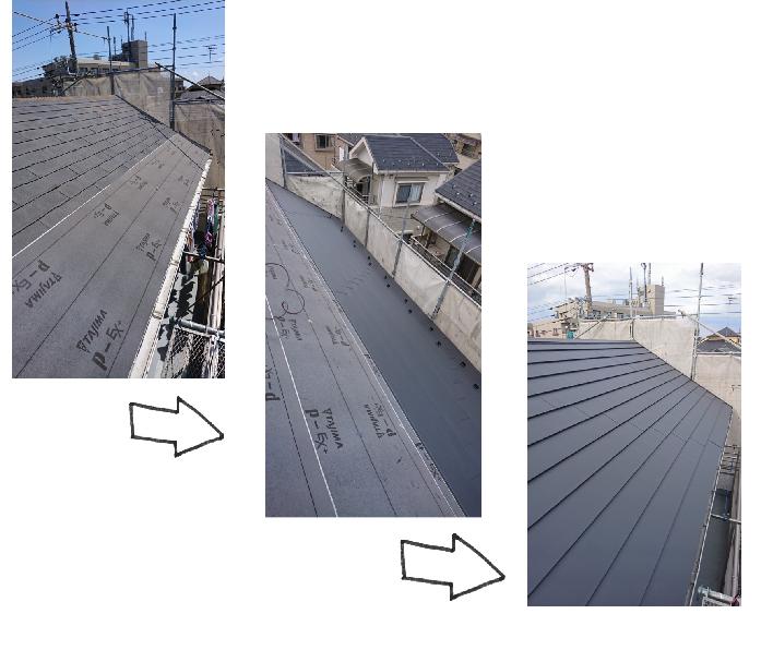 スレート屋根をカバー工法でガルバニウム屋根に