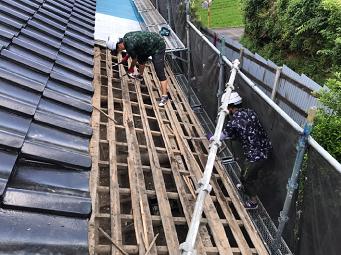 屋根構造 瓦おろし 垂木 屋根下地
